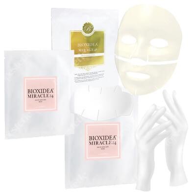 Bioxidea Mirage 48 Excellence Gold + Miracle 24 Neck Mask + Miracle 24 Hand Mask ZESTAW Maska na twarz nawilżająco - przeciwstarzeniowa 1 szt + Maska na szyję 1 szt. + Maska na dłonie 1 szt.