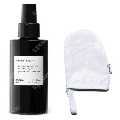 Bogna Skin Make Up Remover Glove + Poppy Wash ZESTAW Rękawiczka do demakijażu 1szt. + Delikatny olejek do demakijażu 100 ml