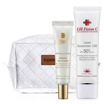 Cell Fusion C Cellular Eye Cream + Laser Sunscreen 100 SPF 50+/PA+++ + Kosmetyczka ZESTAW Krem pod oczy 20 ml + Filtr przeciwsłoneczny 50 ml + Biała, pikowana kosmetyczka