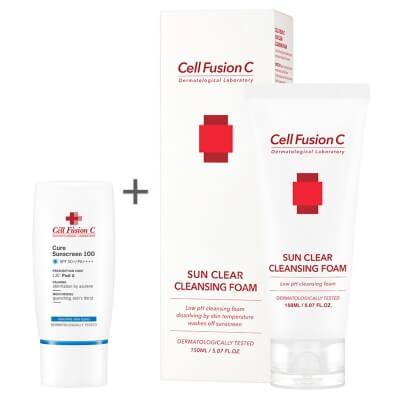 Cell Fusion C Cure Sunscreen 100 SPF 50+ PA+++ + Sun Clear Cleansing Foam ZESTAW Krem przeciwsłoneczny 30ml + Pianka do zmywania filtrów SPF 150ml
