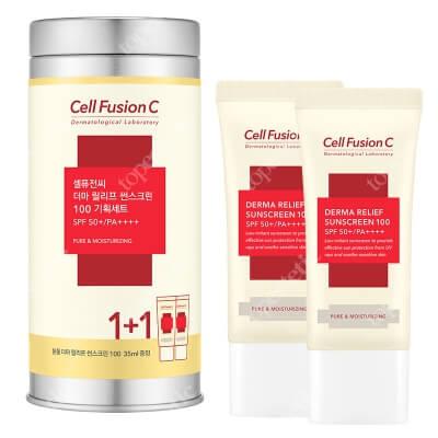 Cell Fusion C Derma Relief Sunscreen 100 SPF 50+PA ++++ Krem nawilżający z wysoką ochroną przeciwsłoneczną dla całej rodziny 35 ml + 35 ml