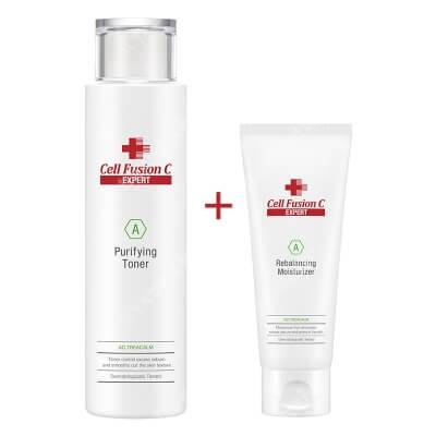 Cell Fusion C Expert Purifying Toner + Rebalancing Moisturizer ZESTAW Silnie nawilżający tonik do skóry tłustej i odwodnionej 200 ml + Krem nawilżający dla skóry tłustej 100 ml