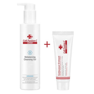 Cell Fusion C Expert Rebalancing Cleansing Gel + Centecassol Ointment ZESTAW Żel oczyszczający dla skóry wrażliwej 200 ml + Krem regeneracyjny przeznaczony dla skóry suchej, podrażnionej, swędzącej 40 ml