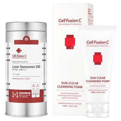 Cell Fusion C Laser Sunscreen 100 SPF 50+ PA+++ + Sun Clear Cleansing Foam ZESTAW ZESTAW Krem z filtrem 2x 35 ml + Pianka oczyszczająca do zmywania filtrów 150 ml