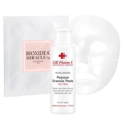 Cell Fusion C Papaya Granule Peels + Miracle 24 Face Mask ZESTAW Peeling enzymatyczny 50 g + Maska na twarz nawilżająco - liftingująca 1 szt