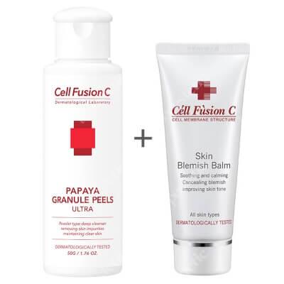Cell Fusion C Papaya Granule Peels + Skin Blemish Balm ZESTAW Peeling enzymatyczny 50 g + Fluid maskujący dla cery tłustej 50 ml