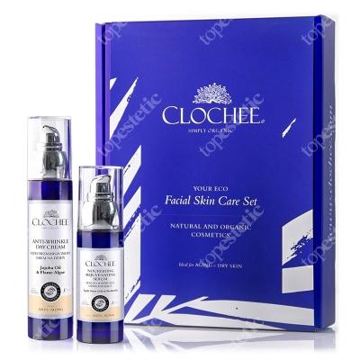 Clochee Facial Skin Care Set ZESTAW Przeciwzmarszczkowy krem na dzień 50 ml + Serum odżywczo-odmładzające 30 ml