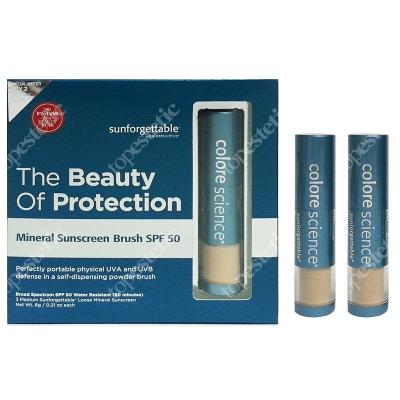 Colorescience Mineral Sunscreen Brush Set ZESTAW Mineralny puder ochronny SPF 50 w pędzlu - kolor Medium 2 + 1 GRATIS