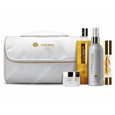 Colway Gold Atelo - Colway Kit ZESTAW Złoty (Płyn do demakijażu, Atelowoda komórkowa, Atelocolagen, Atelokrem MC2, Elegancka kosmetyczka) 300 ml, 150 ml, 50 ml, 50 ml