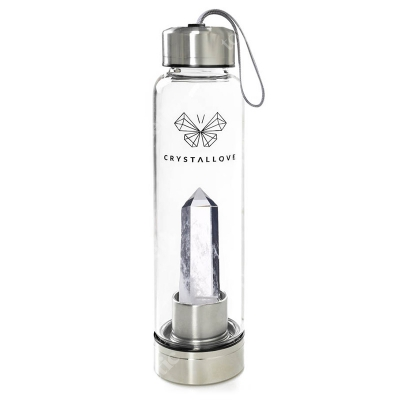 Crystallove Butelka z Kryształem Górskim Usuwa blokady energetyczne ze wszystkich czakr 550 ml