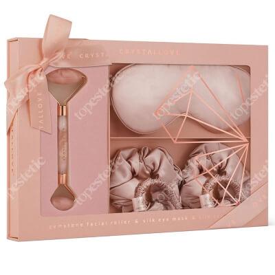 Crystallove Rose Quartz Home Spa Set ZESTAW Masażer do twarzy z kwarcu różowego 1 szt + Opaska z jedwabiu 1 szt + Gumka do włosów z jedwabiu 4 szt