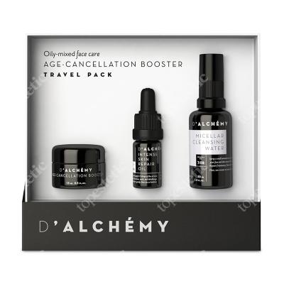 dalchemy Age-Cancellation Booster Travel-Pack ZESTAW Skóra tłusta i mieszana, lotion 15 ml + olejek 5 ml + woda micelarna 30 ml