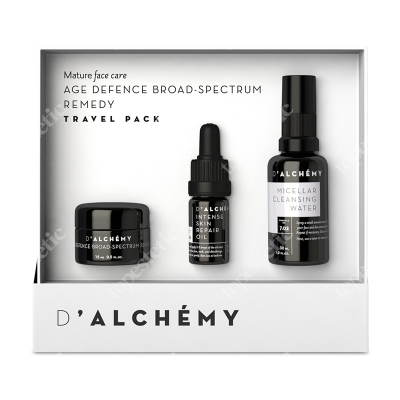 Dalchemy Age Defence Broad-Spectrum Remedy Travel-Pack ZESTAW Skóra dojrzała, krem 15 ml + olejek 5 ml + woda micelarna 30 ml