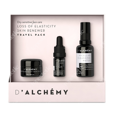 Dalchemy Loss of Elasticity Skin Renewer Travel-Pack ZESTAW Skóra sucha i wrażliwa, krem 15 ml + Olejek 5 ml + Woda micelarna 30 ml