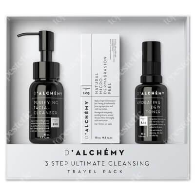 Dalchemy 3 Step Ultimate Cleansing Travel Pack ZESTAW Nawilżający tonik do twarzy 30 ml + Peeling do twarzy 15 ml + Oczyszczający żel do mycia twarzy 50 ml
