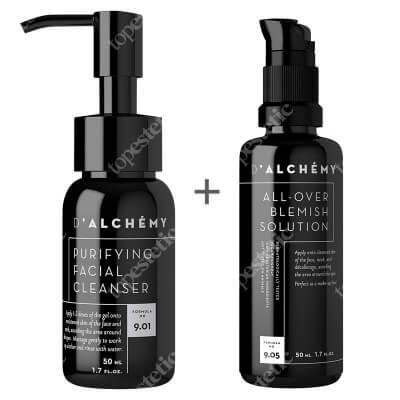 Dalchemy Purifying Facial Cleanser Mini + All-Over Blemish Solution ZESTAW Oczyszczający żel do mycia twarzy 50 ml + Krem regulujący do cery tłustej i mieszanej 50 ml