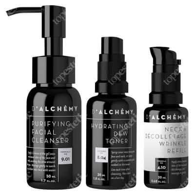 Dalchemy Travel Set ZESTAW Nawilżający tonik do twarzy 30 ml + Wypełniacz zmarszczek do szyi i dekoltu 20 ml + Oczyszczający żel do mycia twarzy 50 ml