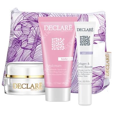 Declare Anti-Wrinkle Set ZESTAW Krem przeciwzmarszczkowy 15 ml + Booster z kolagenem i elastyną 15 ml + Krem do rąk 50 ml +Kosmetyczka 1 szt