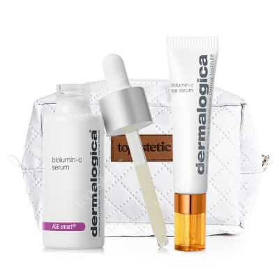 Dermalogica BioLumin-C Box ZESTAW Rozjaśniające serum z witaminą C 30 ml + Energizujące serum wokół oczu z witaminą C 15 ml + Biała, pikowana kosmetyczka 1 szt