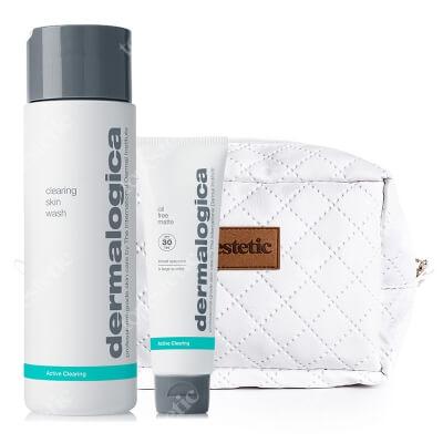 Dermalogica Clearing Skin Wash + Oil Free Matte SPF 30 ZESTAW Żel do mycia skóry tłustej i trądzikowej 250 ml. + Krem matujący na dzień 50 ml + Kosmetyczka 1 szt