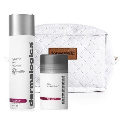 Dermalogica Daily Superfoliant + Dynamic Skin Recovery SPF 50 ZESTAW Wysoce aktywny puder złuszczający 13 g + Ochronny krem regenerujący z filtrem 50 ml + Kosmetyczka