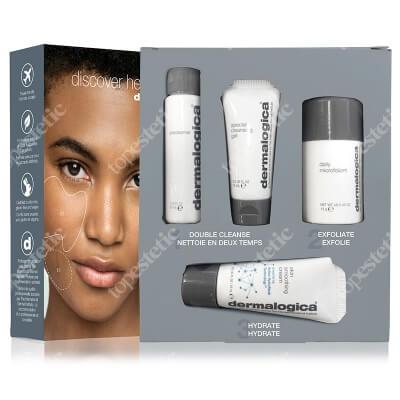 Dermalogica Discover Healthy Skin ZESTAW Krem odżywczy 15 ml + Enzymatyczny puder ryżowy 13 g + Żel do mycia twarzy 15 ml + Lekki olejek oczyszczający 30 ml