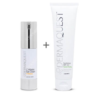 Dermaquest C Infusion Eye Cream + SunArmor SPF50 ZESTAW Przeciwstarzeniowy krem pod oczy 14,8 ml + Przeciwstarzeniowy krem z najwyższą ochroną mineralną SPF50 57 ml