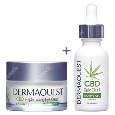 Dermaquest CBD Daily Elixir II + CBD Replenishing Eye Cream ZESTAW Eliksir dzienny 1000 mg 30 ml + Krem na okolice oczu 15 ml