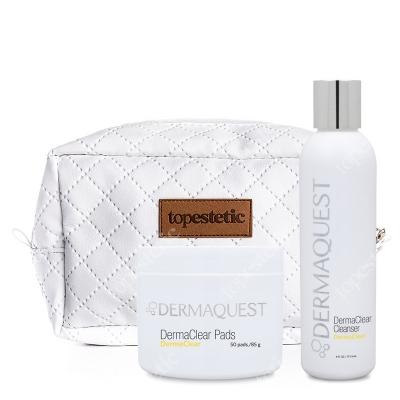 Dermaquest DermaClear Set ZESTAW Peeling chemiczny 50 pads / 85 g + Żel do mycia skóry 177,4 ml + Kosmetyczka