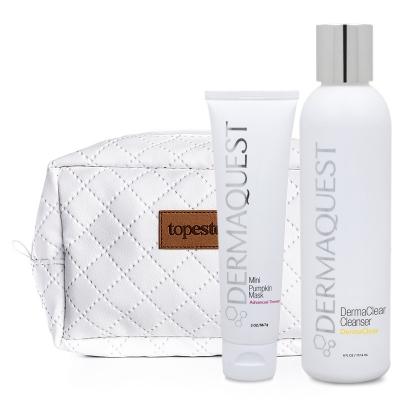 Dermaquest Mini Pumpkin Mask + DermaClear Cleanser + Kosmetyczka ZESTAW Terapeutyczna maska dyniowa 57 ml + Antybakteryjno-enzymatyczny żel do mycia skóry z kwasem migdałowym 177,4 ml + Biała, pikowana kosmety