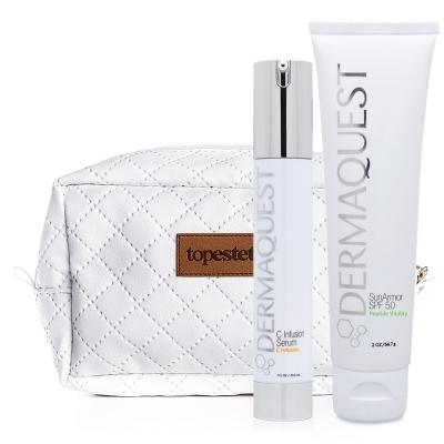 Dermaquest SunArmor SPF 50 + C Infusion Serum + Kosmetyczka ZESTAW Peptydowo-przeciwstarzeniowy krem z najwyższą ochroną mineralną SPF 50 57 ml + Przeciwstarzeniowe serum z najbardziej stabilną lipofilow