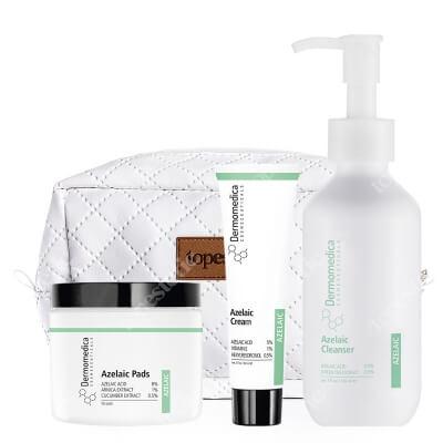 Dermomedica Azelaic Set ZESTAW Żel do mycia z kwasem azelainowym 150 ml + Krem z kwasem azelainowym 60 ml + Płatki z kwasem azelainowym 50 szt + Kosmetyczka