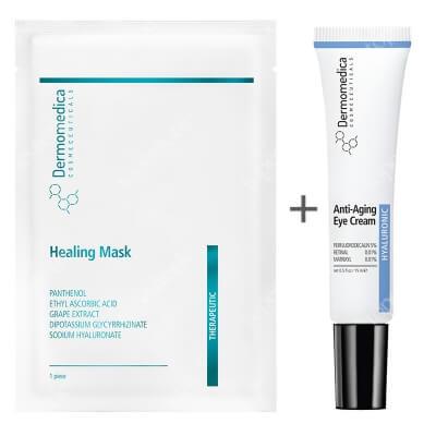 Dermomedica Healing Mask + Anti Aging Eye Cream ZESTAW Nanocelulozowa maska terapeutyczna o działaniu gojącym i przeciwstarzeniowym 1 szt. + Przeciwstarzeniowy krem wokół oczu 15 ml