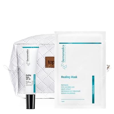 Dermomedica Healing Mask + Healing Balm SPF 50 + Kosmetyczka ZESTAW Nanocelulozowa maska terapeutyczna o działaniu gojącym i przeciwstarzeniowym 1 szt. + Balsam gojący z filtrem 15 ml + Biała, pikowana kos