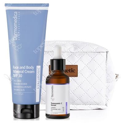 Dermomedica Tranexamic C Serum + Face and Body Mineral Cream SPF30 + Kosmetyczka Topestetic ZESTAW Serum depigmentacyjne i przeciwstarzeniowe 30 ml + Krem do twarzy i ciała 227 ml + Biała, pikowana