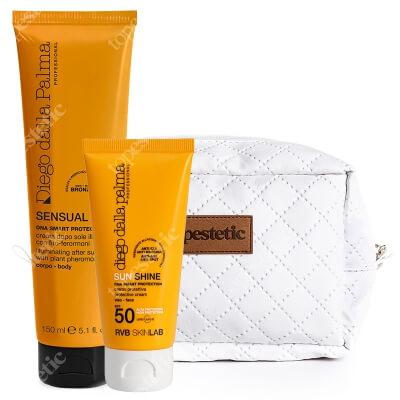 Diego Dalla Palma Protective Face Cream Anti Age SPF 50 + Illuminating After Sun Cream ZESTAW Krem do twarzy 50 ml + Rozświetlenie ciała po opalaniu 150 ml + Kosmetyczka