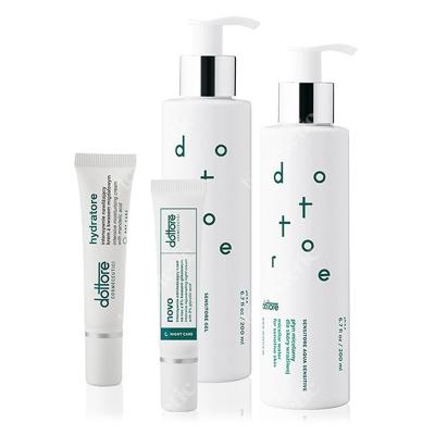Dottore Kuracja Oczyszczająca ZESTAW Płyn micelarny 200 ml + Żel do mycia twarzy 200 ml + Hydratore krem 5 % 15 ml + Nowo krem 8% 15 ml