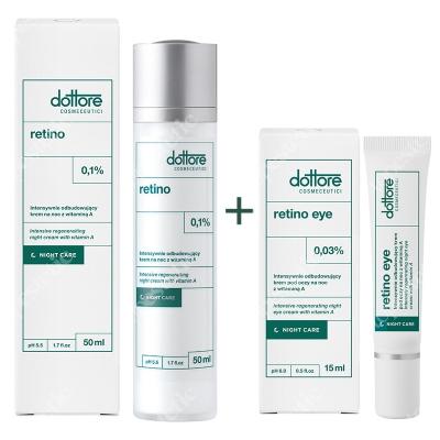 Dottore Kuracja Odbudowująca ZESTAW Krem na noc z witaminą A (retinol 0,1%) 50 ml + Krem pod oczy 15 ml