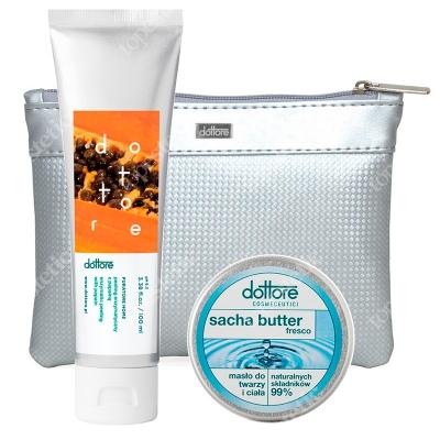 Dottore Summer Set Fresco ZESTAW Peeling enzymatyczny z papainą 100 ml + Masło do twarzy i ciała 50 ml + Kosmetyczka