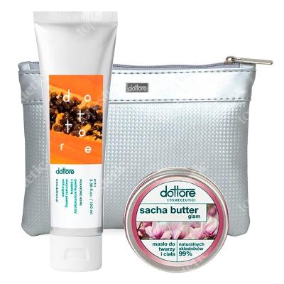 Dottore Summer Set Glam ZESTAW Peeling enzymatyczny z papainą 100 ml + Masło do twarzy i ciała 50 ml + Kosmetyczka