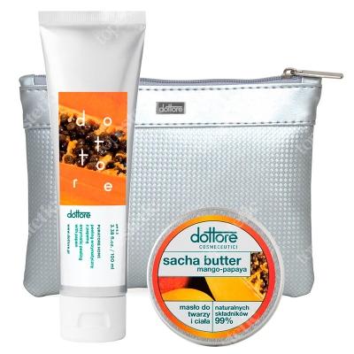 Dottore Summer Set Mango&Papaya ZESTAW Peeling enzymatyczny z papainą 100 ml + Masło do twarzy i ciała 50 ml + Kosmetyczka