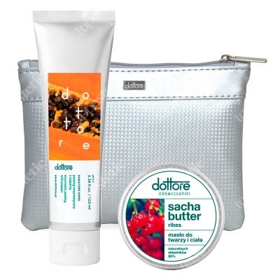 Dottore Summer Set Ribes ZESTAW Peeling enzymatyczny z papainą 100 ml + Masło do twarzy i ciała 50 ml + Kosmetyczka