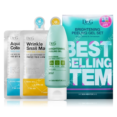 Dr G Brightening Peeling Gel + Mask Aqua Collagen + Mask Wrinkle Snail ZESTAW peeling 120 ml + 2 maski w płachcie