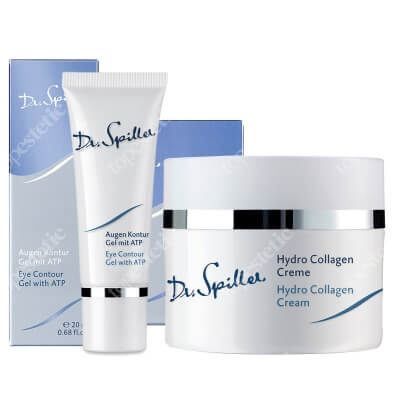 Dr Spiller Hydro Collagen Cream + Eye Contour Gel With ATP ZESTAW Nawilżający krem z hydrolizowanym kolagenem 50 ml + Żel redukujący cienie pod oczami z ATP, z olejkiem z róży damasceńskiej 20 ml