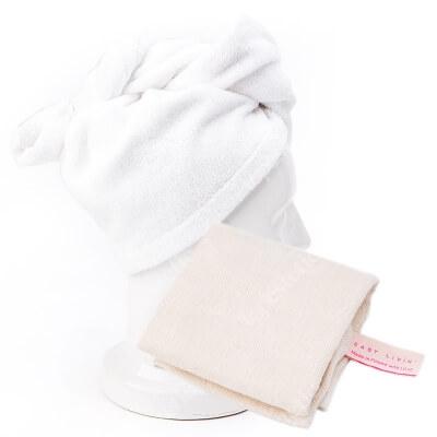 Easy Livin Turban Do Włosów + Ręcznik Muslinowy do Twarzy OEKO - TEX ZESTAW Bambusowy do osuszania włosów (kolor biel ) 1 szt + Ręcznik z włókien algowych SeaCELL 1 szt