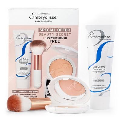 Embryolisse Parisian Glow Beauty Secret- Limited Edition ZESTAW Puder wygładzająco-brązujący 12 g + Krem odżywczo-nawilżający 75 ml + Uniwersalny pędzel do pudru 1 szt