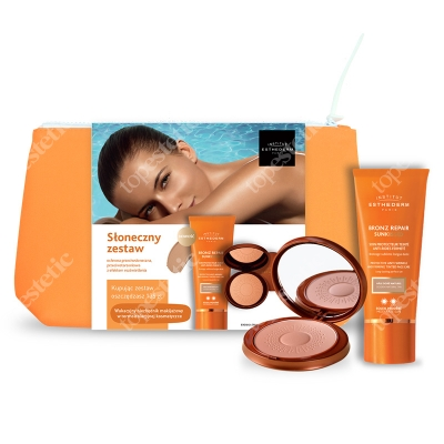 Esthederm Bronz Repair Sun Kissed + Tinted Sun Sheen Powder ZESTAW Przeciwzmarszczkowy krem ochronny 50 ml + Puder brązujący 15 g + kosmetyczka