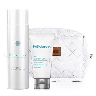Exuviance Ultra Restorative Creme + Soothing Toning Lotion ZESTAW Krem do skóry suchej i wrażliwej 50 g + Tonik do skóry suchej i wrażliwej 200 ml + Kosmetyczka