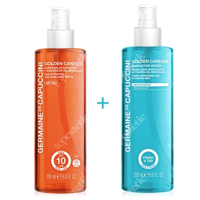Germaine de Capuccini Blue Activ Water + Tan Activating & Subliming Sun Oil ZESTAW Mgiełka nawilżająca przyspieszająca opalanie 200 ml + Suchy olejek przyspieszający opalanie SPF 10 200 ml