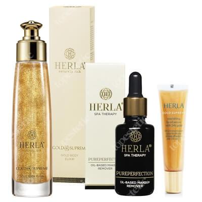 Herla Gold Care Set ZESTAW Elixir do ciała 100 ml + Serum do ust 15 ml + Olejek do demakijażu 30 ml